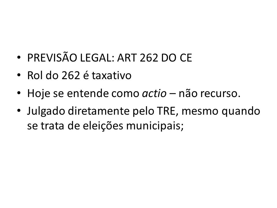PREVISÃO LEGAL: ART 262 DO CE
