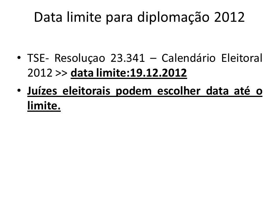 Data limite para diplomação 2012