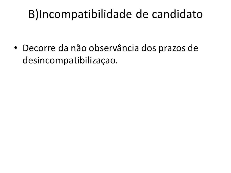 B)Incompatibilidade de candidato