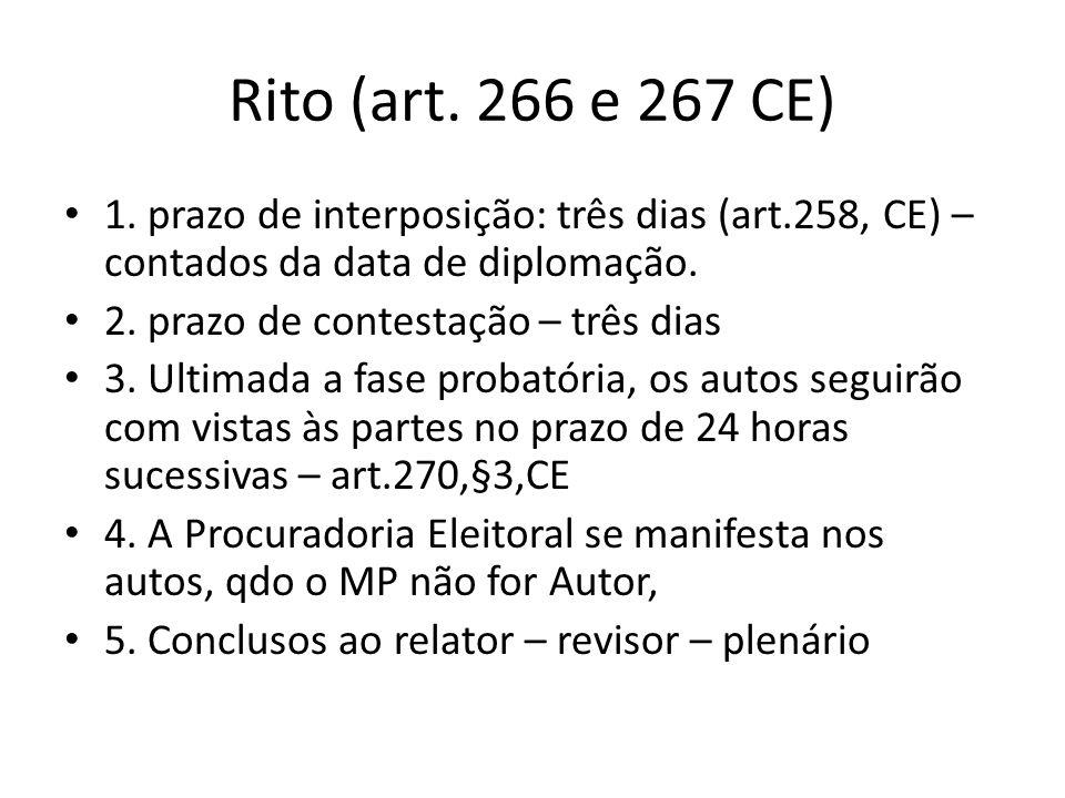 Rito (art. 266 e 267 CE) 1. prazo de interposição: três dias (art.258, CE) – contados da data de diplomação.