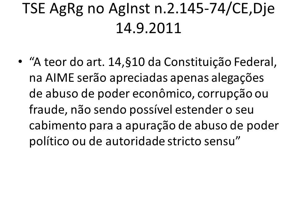 TSE AgRg no AgInst n.2.145-74/CE,Dje 14.9.2011