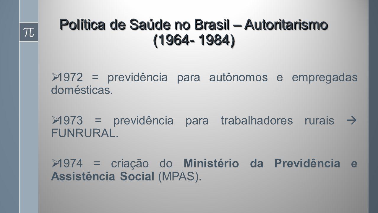 Política de Saúde no Brasil – Autoritarismo (1964- 1984)