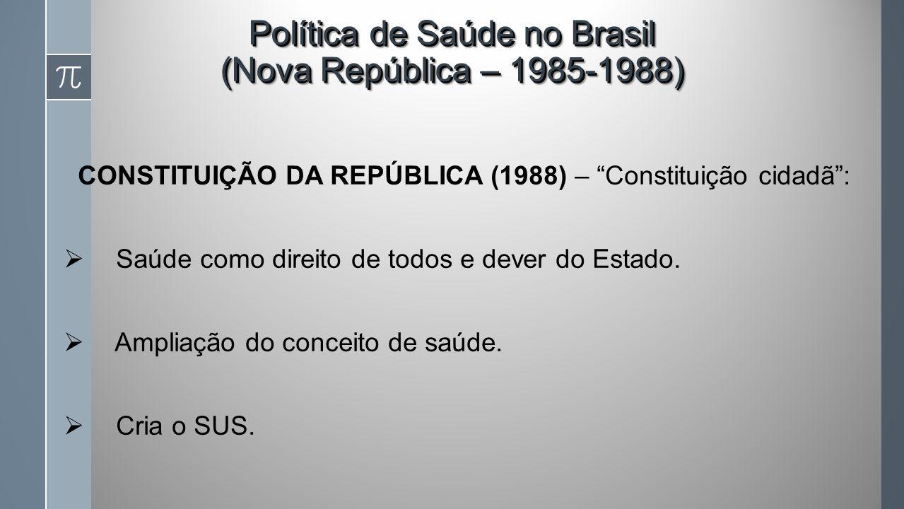 Política de Saúde no Brasil (Nova República – 1985-1988)