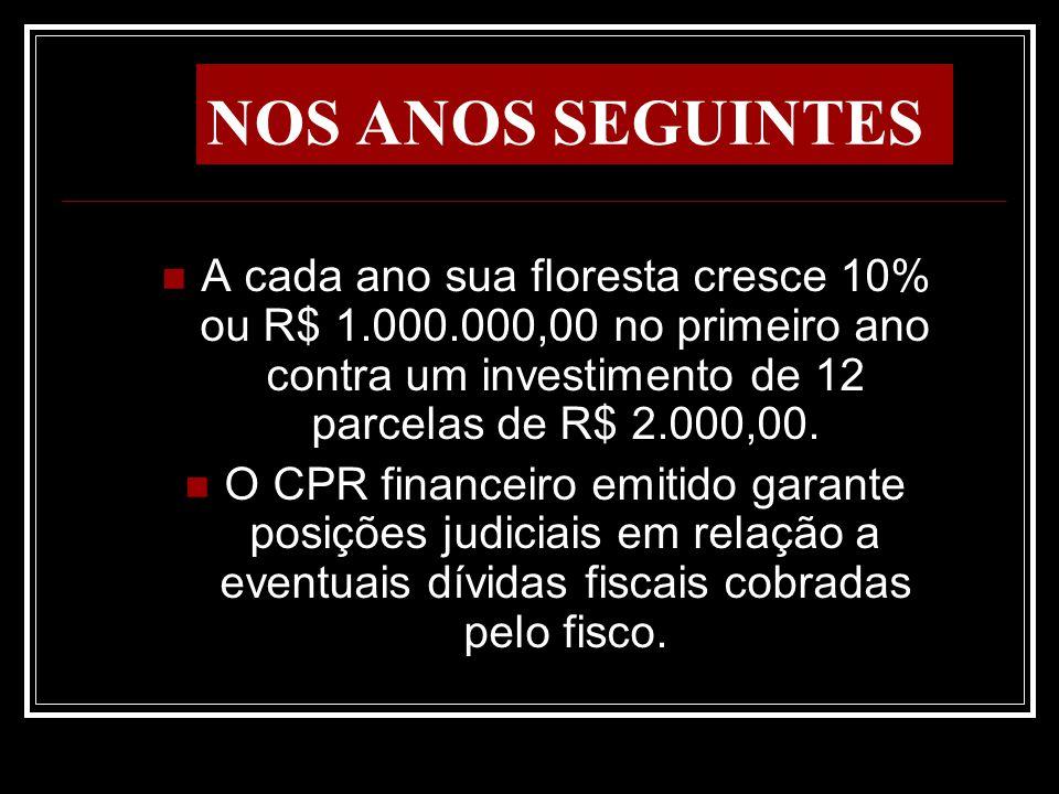 NOS ANOS SEGUINTES A cada ano sua floresta cresce 10% ou R$ 1.000.000,00 no primeiro ano contra um investimento de 12 parcelas de R$ 2.000,00.