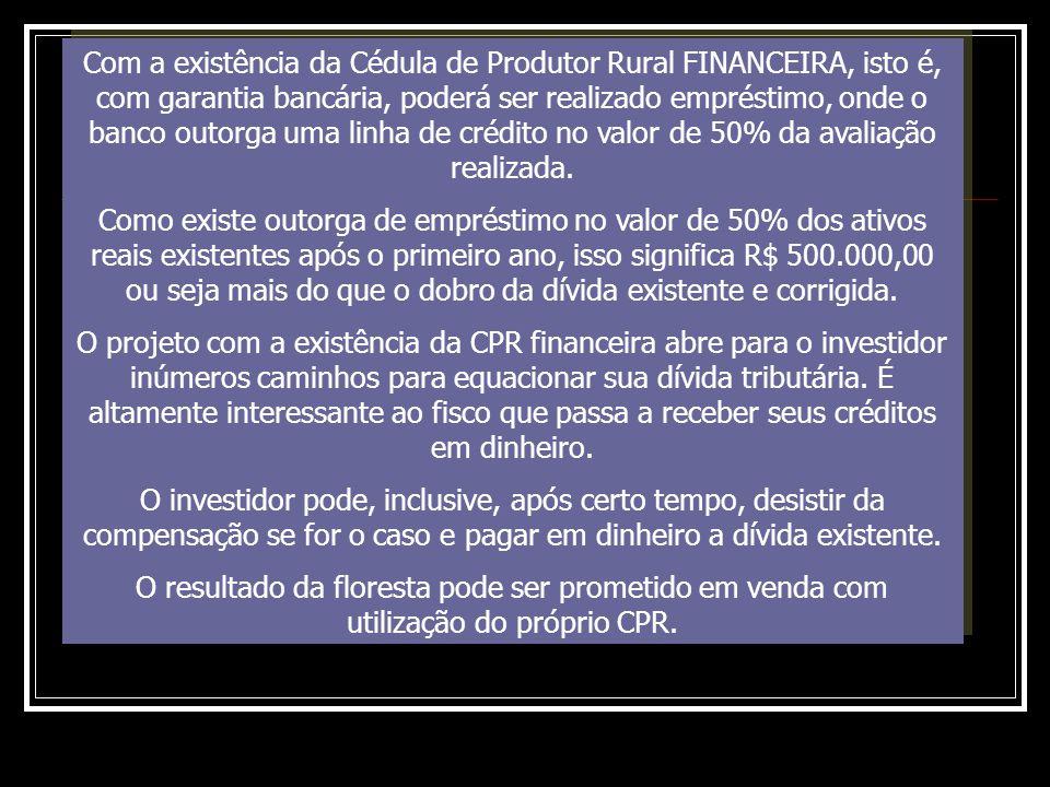 Com a existência da Cédula de Produtor Rural FINANCEIRA, isto é, com garantia bancária, poderá ser realizado empréstimo, onde o banco outorga uma linha de crédito no valor de 50% da avaliação realizada.