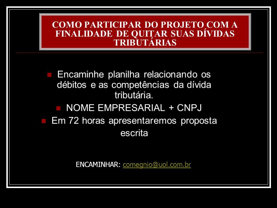 NOME EMPRESARIAL + CNPJ Em 72 horas apresentaremos proposta escrita
