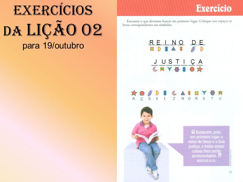 Exercícios da Lição 02 para 19/outubro