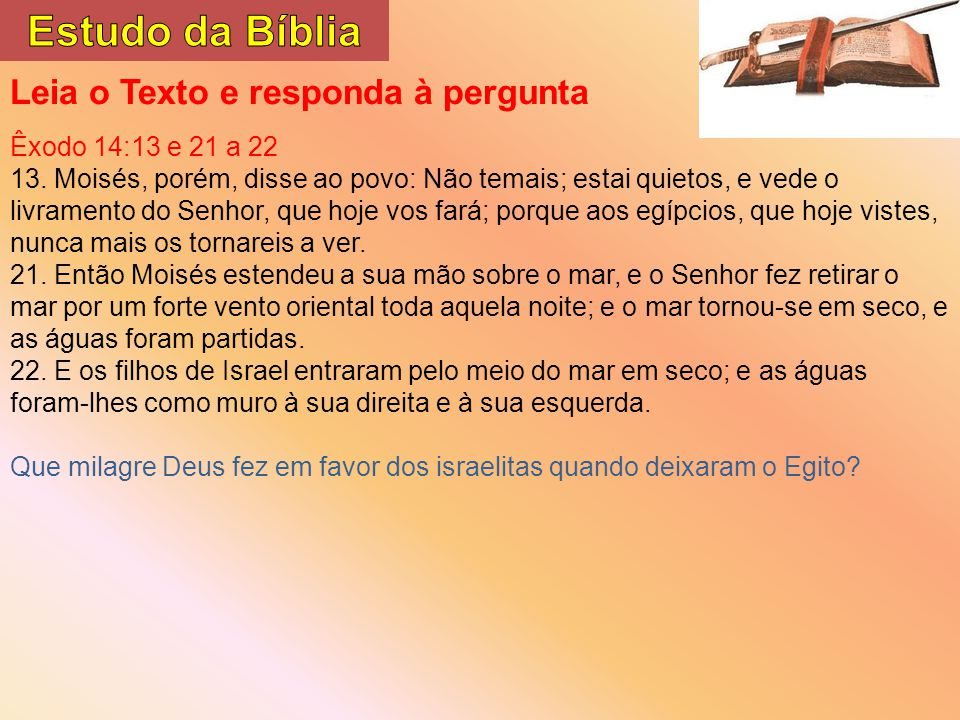 Estudo da Bíblia Leia o Texto e responda à pergunta
