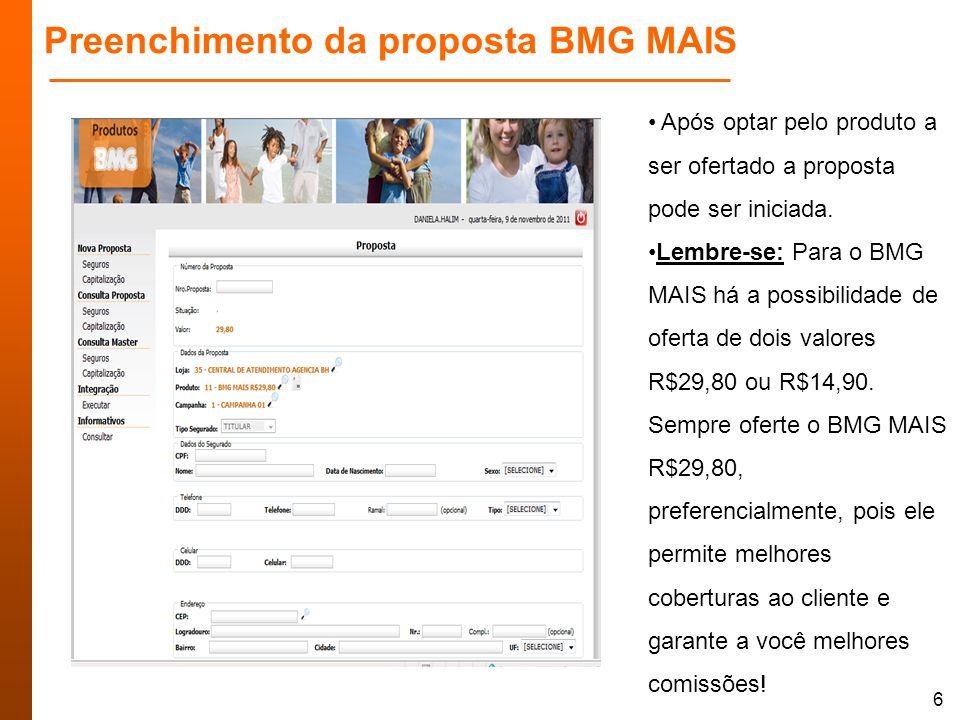 Preenchimento da proposta BMG MAIS