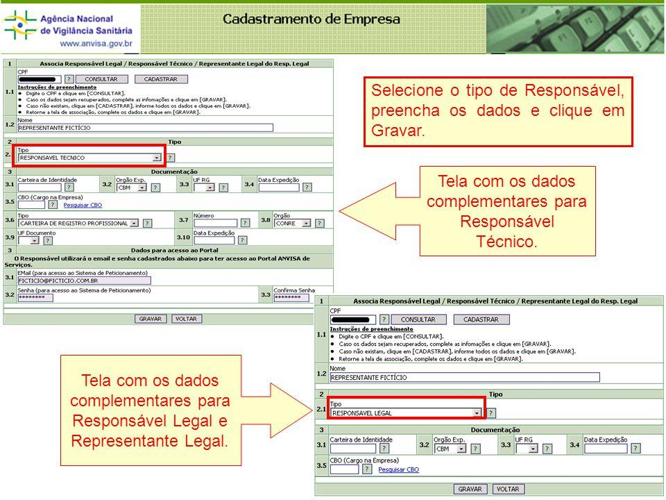 Tela com os dados complementares para Responsável Técnico.