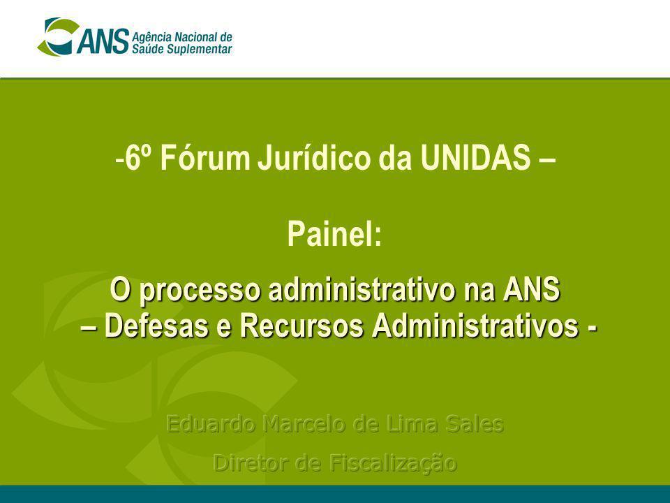 6º Fórum Jurídico da UNIDAS – Painel: O processo administrativo na ANS – Defesas e Recursos Administrativos -