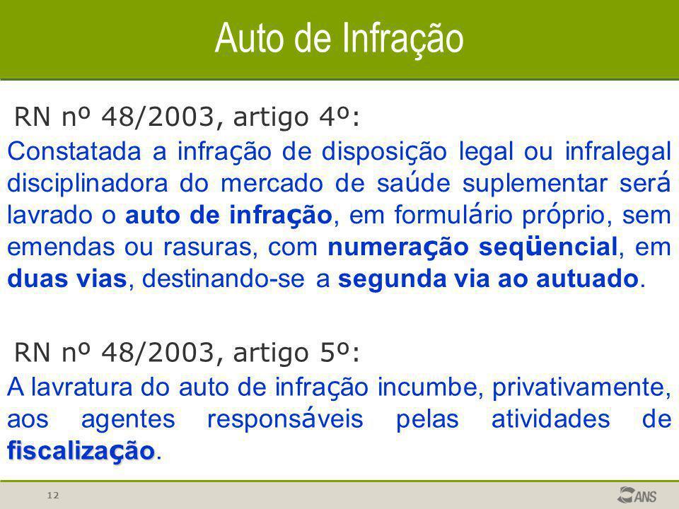Auto de Infração RN nº 48/2003, artigo 4º:
