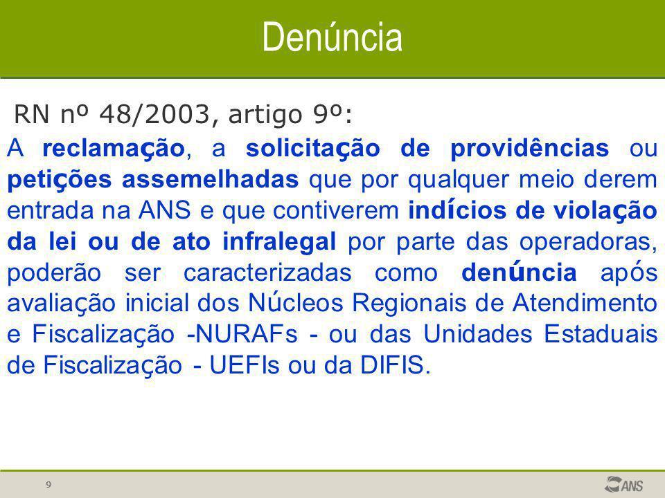 Denúncia RN nº 48/2003, artigo 9º: