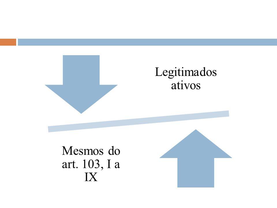 Legitimados ativos Mesmos do art. 103, I a IX