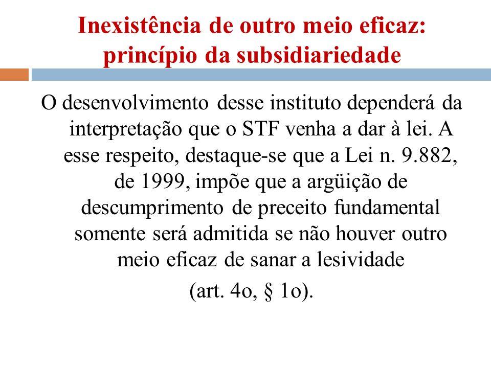 Inexistência de outro meio eficaz: princípio da subsidiariedade