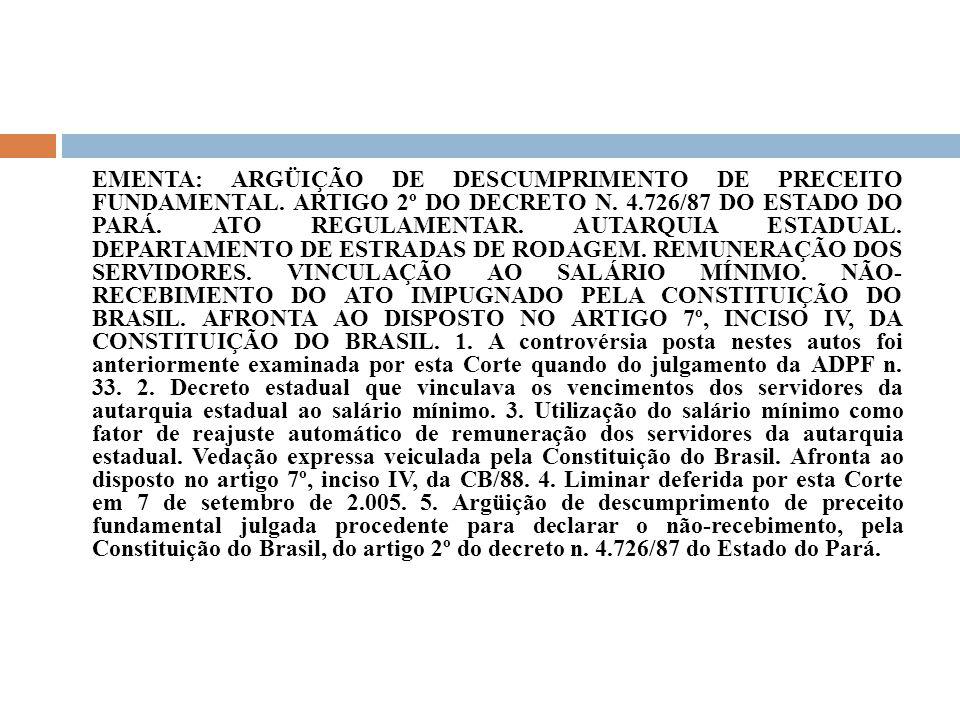 EMENTA: ARGÜIÇÃO DE DESCUMPRIMENTO DE PRECEITO FUNDAMENTAL