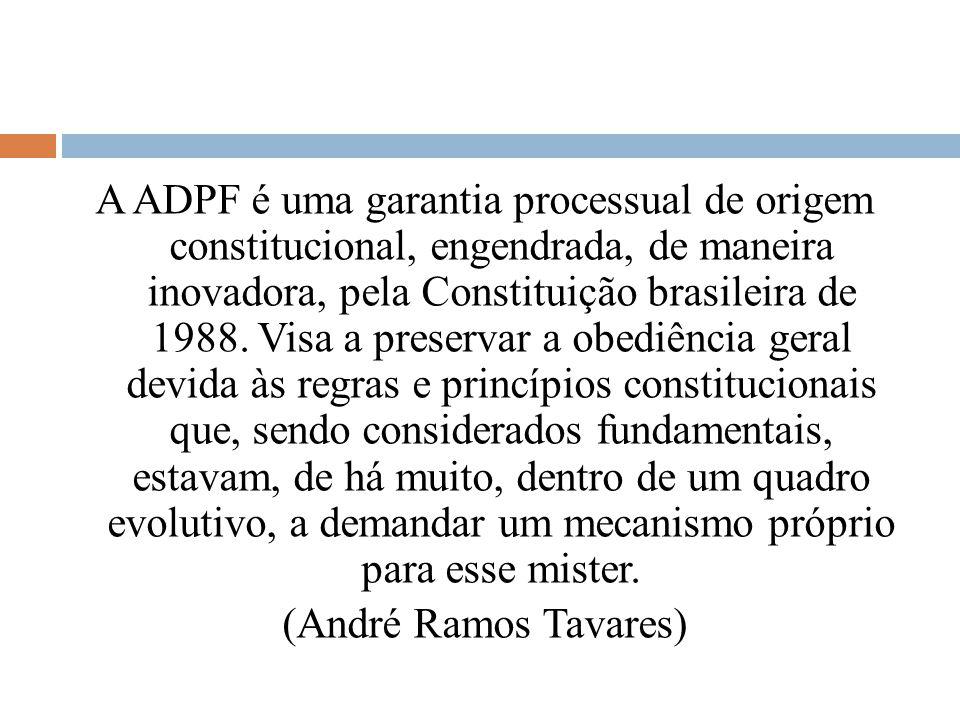 A ADPF é uma garantia processual de origem constitucional, engendrada, de maneira inovadora, pela Constituição brasileira de 1988.