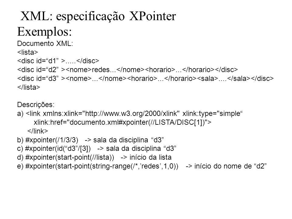 XML: especificação XPointer Exemplos: