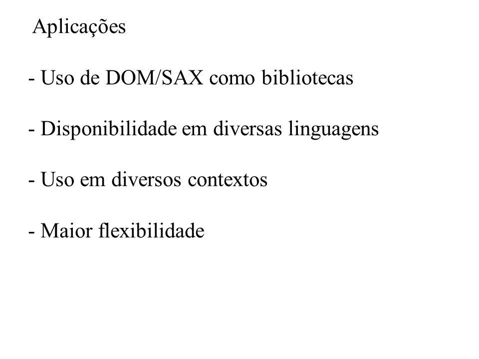 Aplicações Uso de DOM/SAX como bibliotecas. Disponibilidade em diversas linguagens. Uso em diversos contextos.