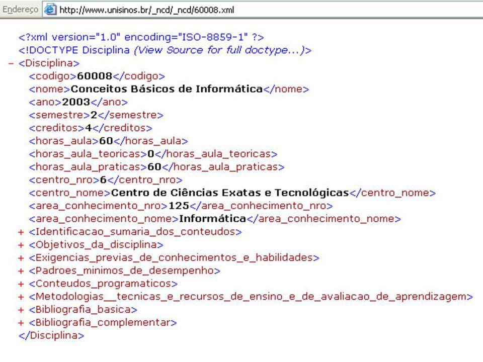 { Web Semântica Sintaxe bem definida: exemplo: xml p/ disciplina,