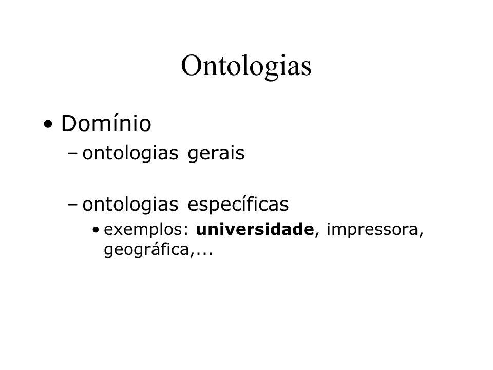 Ontologias Domínio ontologias gerais ontologias específicas