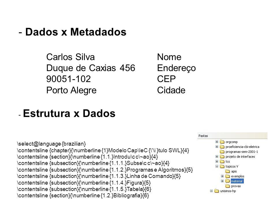 Dados x Metadados Carlos Silva Nome Duque de Caxias 456 Endereço