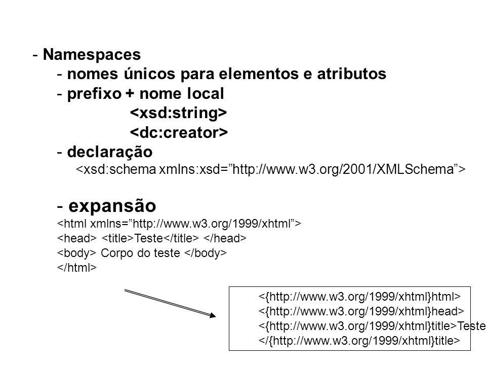 expansão Namespaces nomes únicos para elementos e atributos