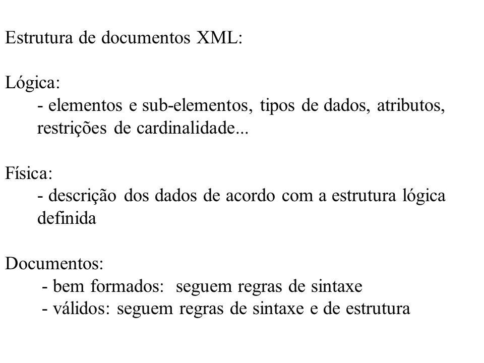 Estrutura de documentos XML: