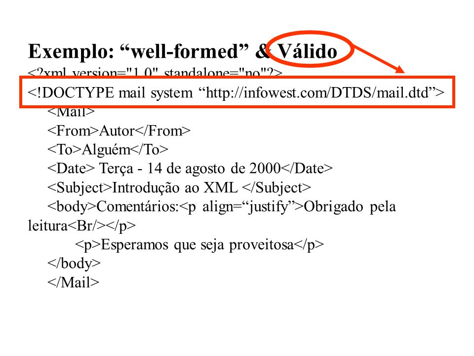 Exemplo: well-formed & Válido