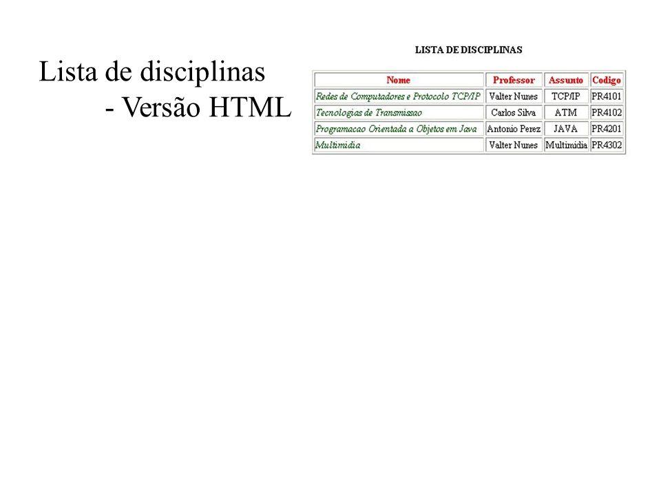 Lista de disciplinas - Versão HTML