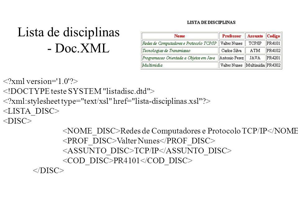 Lista de disciplinas - Doc.XML < xml version= 1.0 >