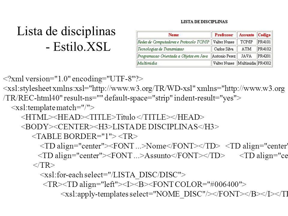 Lista de disciplinas - Estilo.XSL