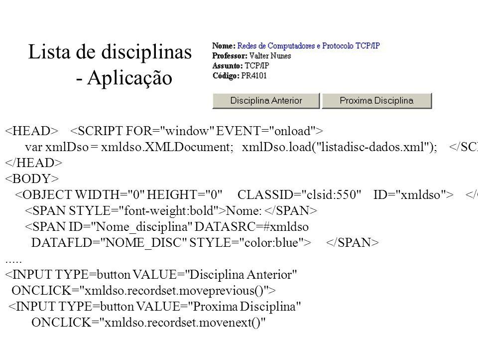 Lista de disciplinas - Aplicação