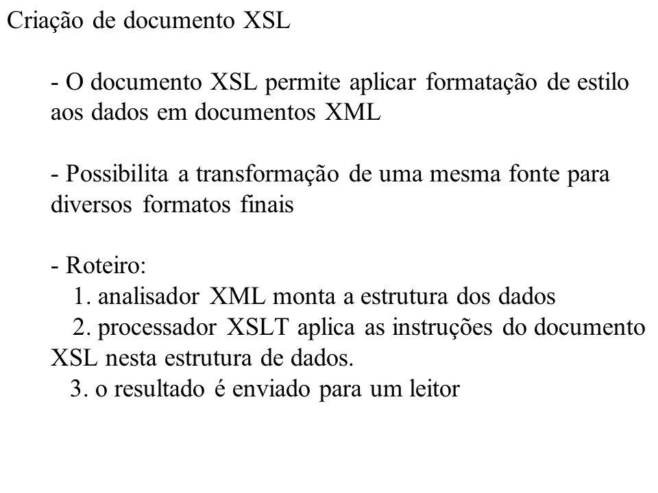 Criação de documento XSL