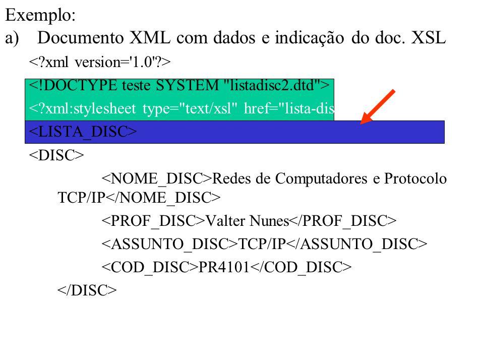Documento XML com dados e indicação do doc. XSL