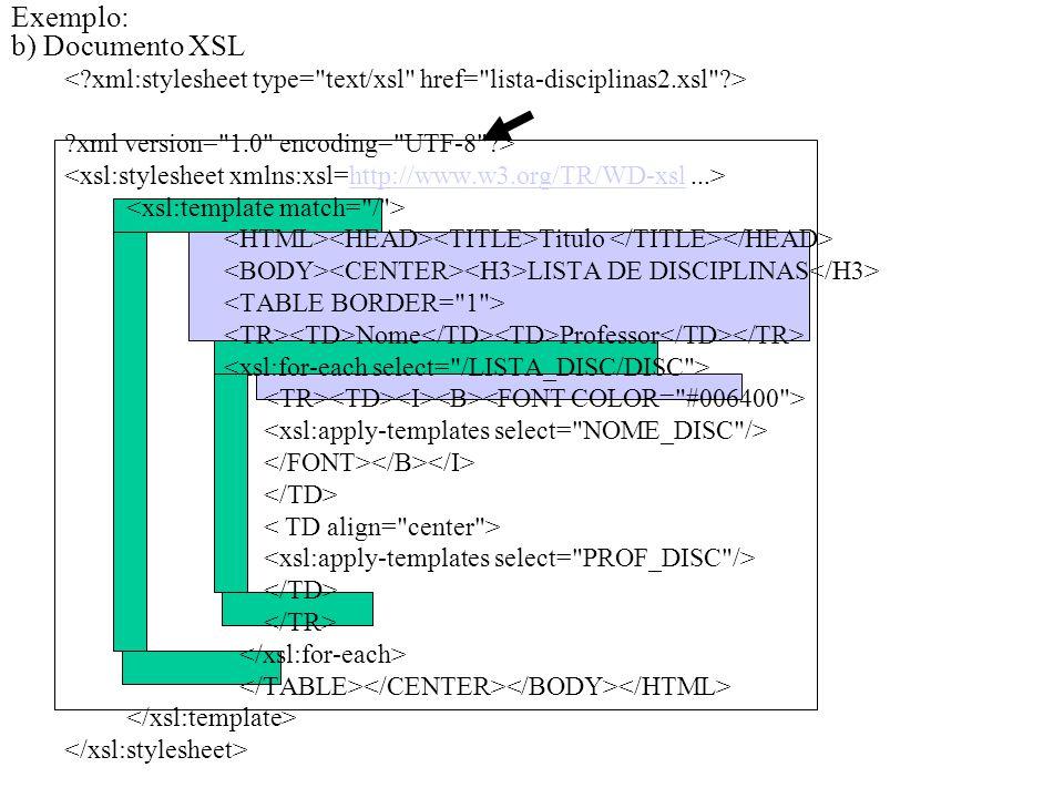 Exemplo: b) Documento XSL