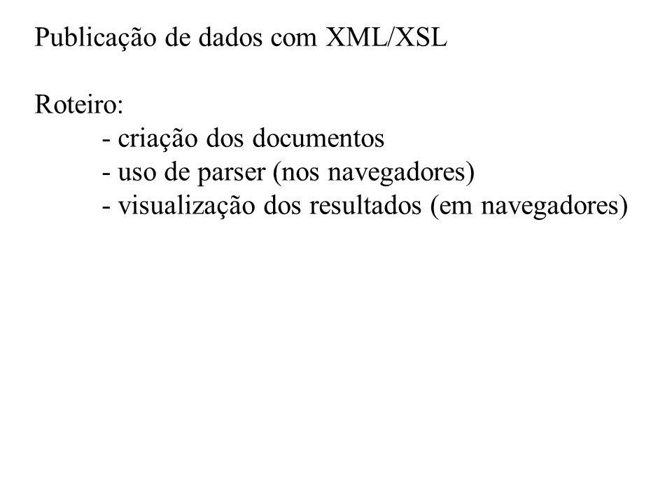 Publicação de dados com XML/XSL
