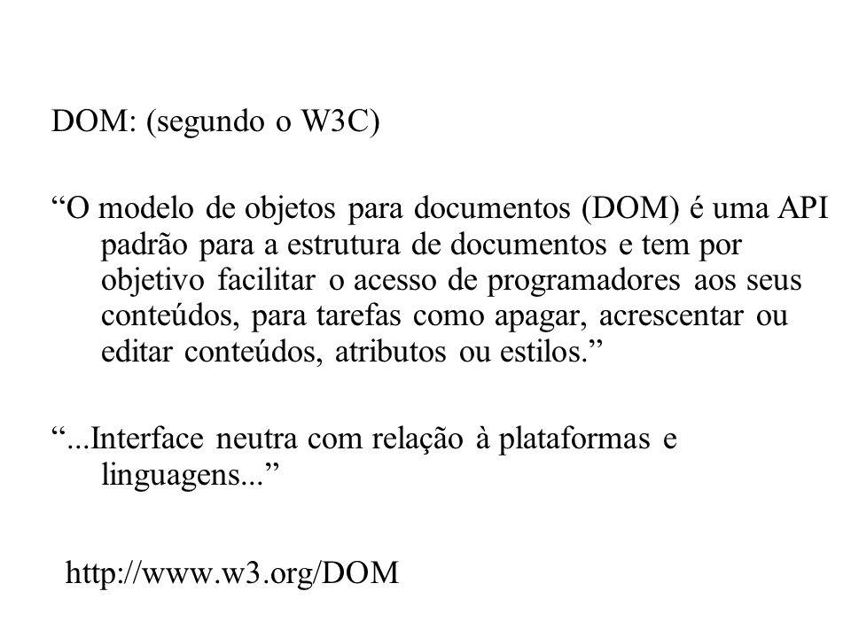 http://www.w3.org/DOM DOM: (segundo o W3C)