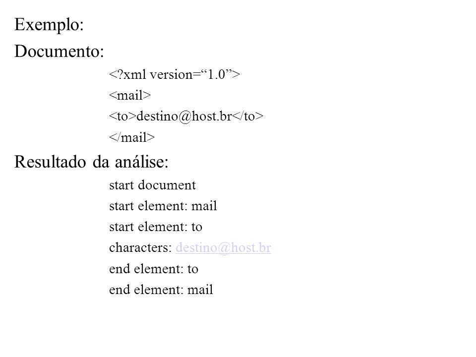 Exemplo: Documento: Resultado da análise: < xml version= 1.0 >