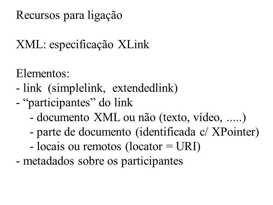 Recursos para ligação XML: especificação XLink. Elementos: link (simplelink, extendedlink) participantes do link.