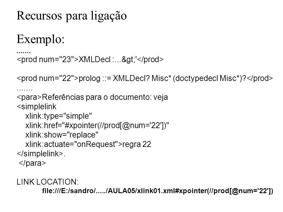 Recursos para ligação Exemplo: