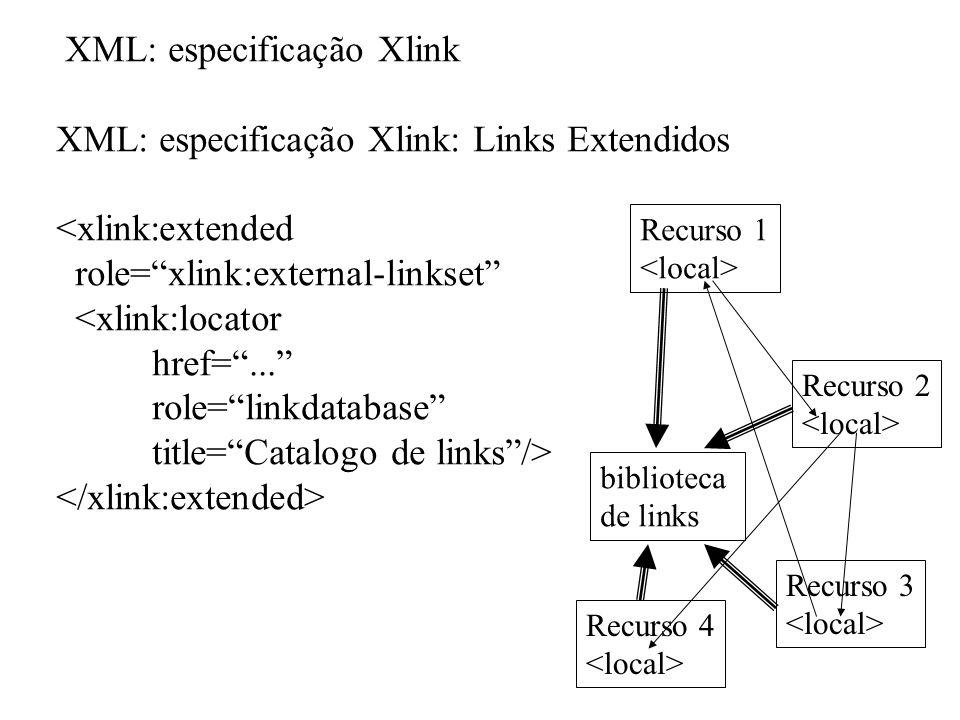 XML: especificação Xlink XML: especificação Xlink: Links Extendidos