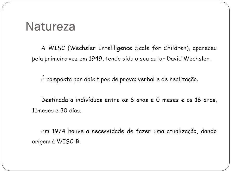 Natureza A WISC (Wechsler Intellligence Scale for Children), apareceu pela primeira vez em 1949, tendo sido o seu autor David Wechsler.