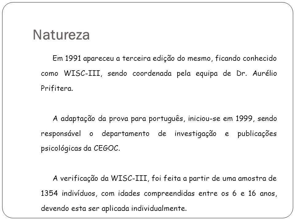 Natureza Em 1991 apareceu a terceira edição do mesmo, ficando conhecido como WISC-III, sendo coordenada pela equipa de Dr. Aurélio Prifitera.