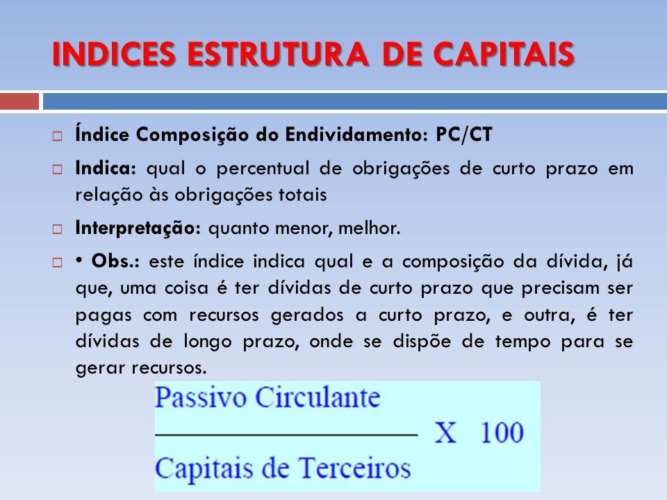 INDICES ESTRUTURA DE CAPITAIS