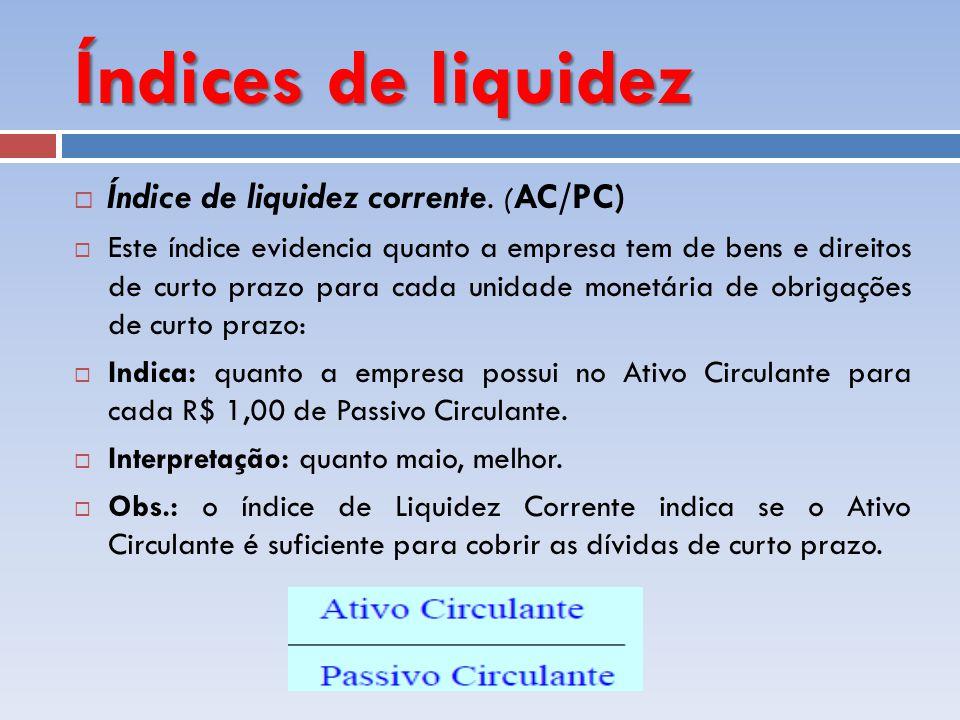 Índices de liquidez Índice de liquidez corrente. (AC/PC)