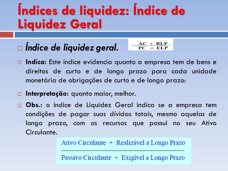 Índices de liquidez: Índice de Liquidez Geral