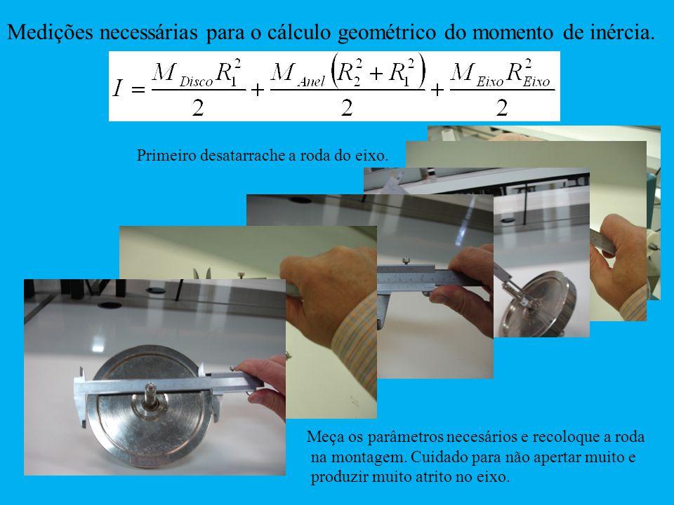 Medições necessárias para o cálculo geométrico do momento de inércia.