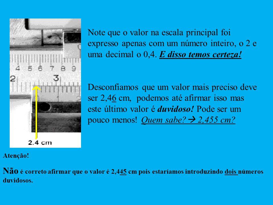 Note que o valor na escala principal foi expresso apenas com um número inteiro, o 2 e uma decimal o 0,4. E disso temos certeza!