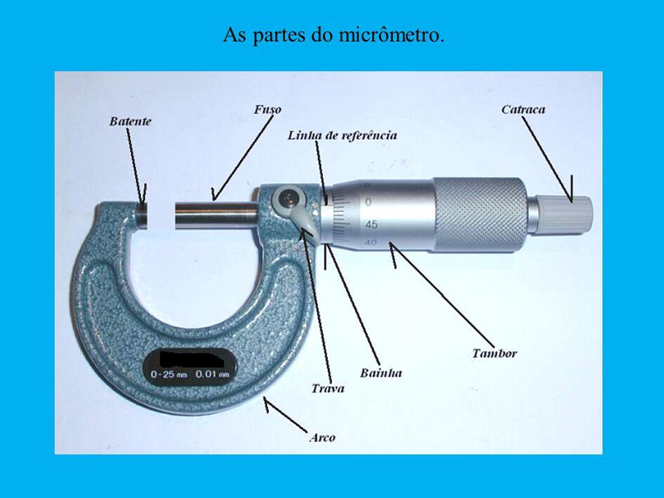 As partes do micrômetro.